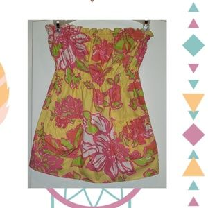 Lilly Pulitzer strapless floral shirt with pockets